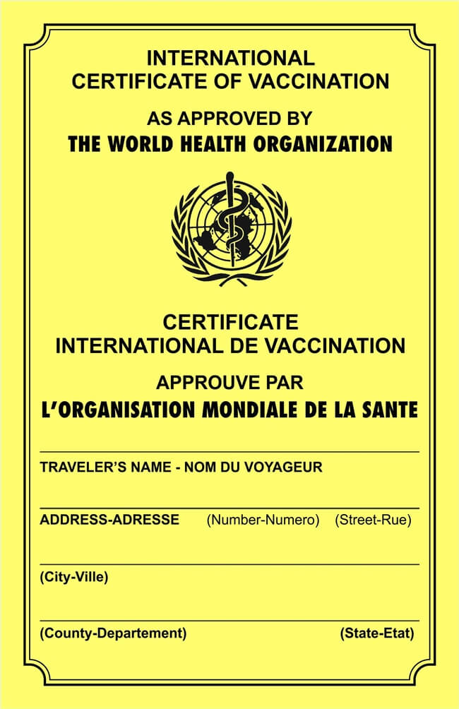 Certificate of vaccination OMS