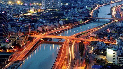 ho chi minh city river at night