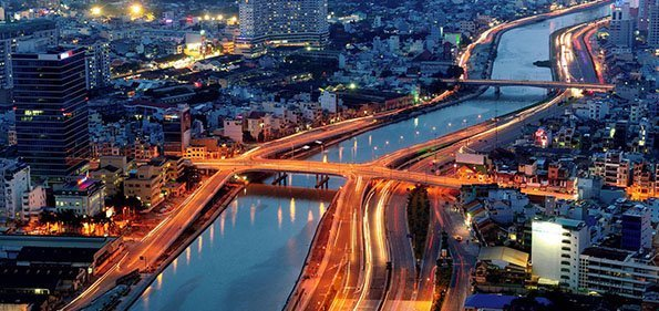 ho chi minh city river at night