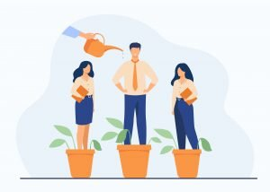Hand watering plants and employees in flowerpots. Vector illustration for growth, development, career training concept