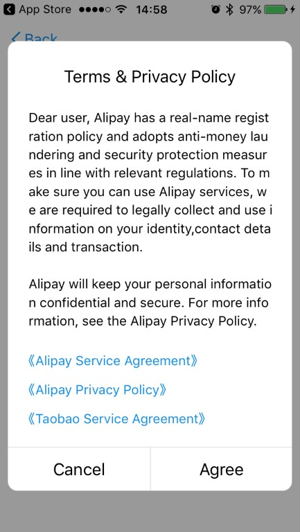 Select Agree to Alipay Terms and Conditions