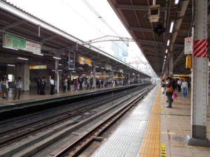 Waiting at the Akihabara Station in Tokyo Japan