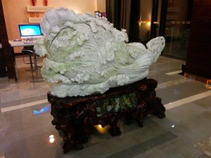 China is different - a giant cabbage in my hotel lobby