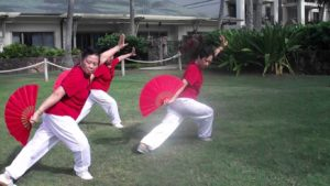Chinese women practicing fan tai chi