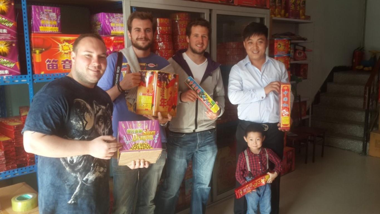 InternChina - John Pitts, Philippe Touzin, Maxime Dupuis, Fireworks Boss, and Boss's son