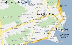 InternChina-Our-new-office-location-on-a-map-of-Zhuhai