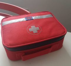 Medical kit in the IC office to promote vaccine blog for health and safety