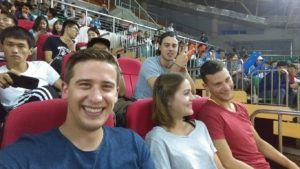 My friends and I at the Qingdao University basketball game