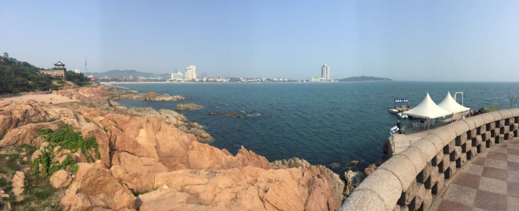 "Panoramic view with the typical ""qingdao-rocks"" at the seaside"