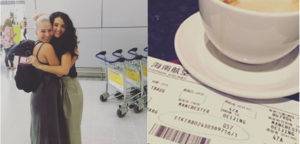A cup of coffee and a plane ticket in the airport