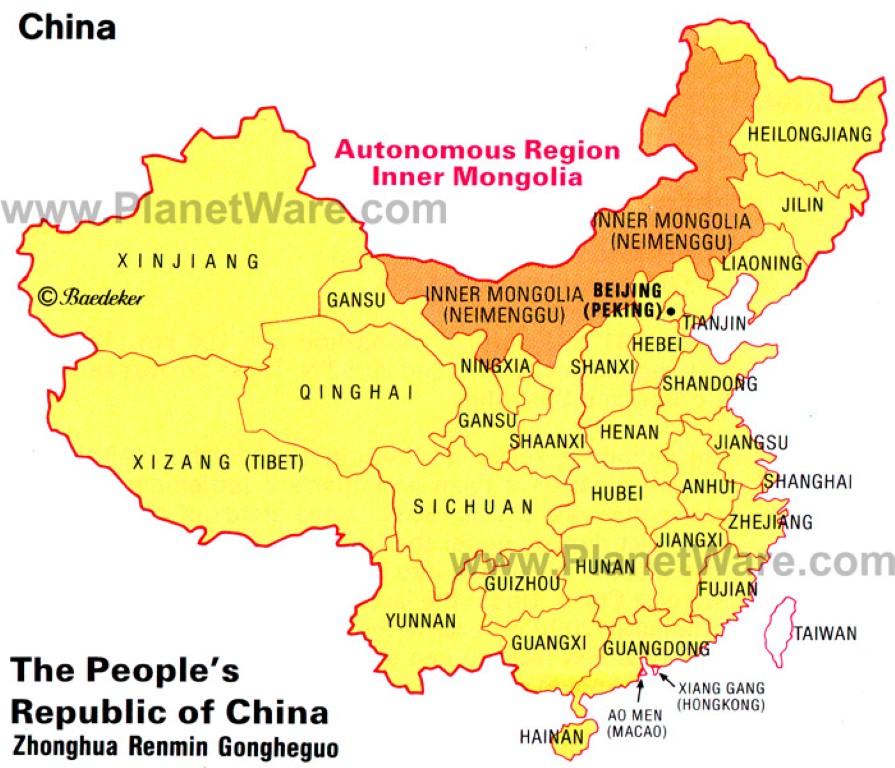 InternChina - China map - Inner Mongolia