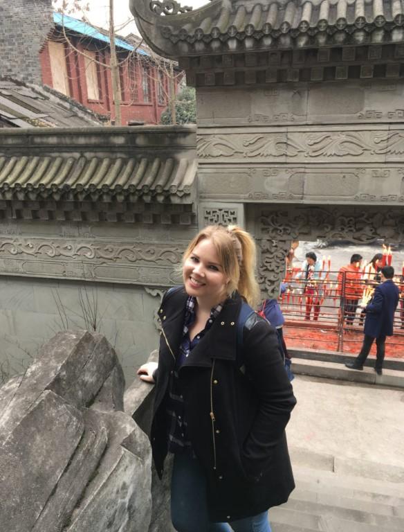 Tamara in Chongqing Ancient Town Tile Roofs InternChina