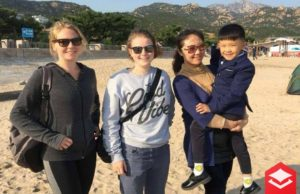 Homestay family at the beach