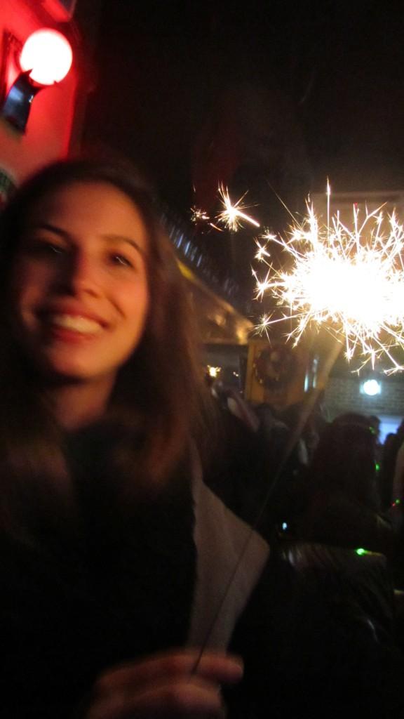 intern with New years sparkler