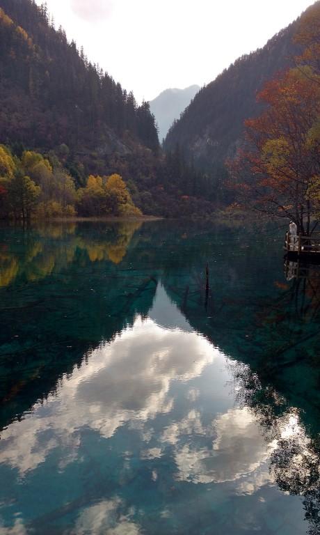 jiuzhaigou national park china sichuan aba clouds lake autumn scenery